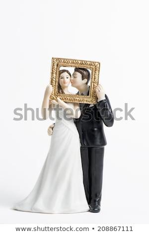Foto d'archivio: Elegante · bianco · nero · wedding · cake · isolato · bianco · alimentare