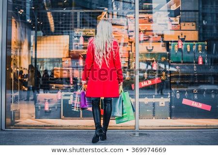 Foto stock: Ventana · compras · mujer · pie · tienda