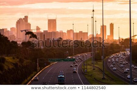 Estrada Melbourne auto-estrada cidade nascer do sol olhando Foto stock © iTobi
