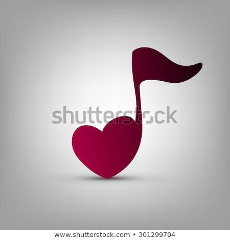 Zenei hang felirat rózsaszín szív boldog művészet Stock fotó © creative_stock