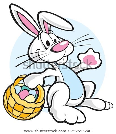 Hülye rajz húsvéti nyuszi kosárnyi tojás mosoly nyuszi Stock fotó © fizzgig