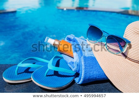 Sandálias piscina água laranja sapato legal Foto stock © mikdam