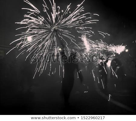 ördög csillagszóró színes rajz illusztráció vektor Stock fotó © derocz