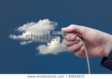 ethernet · kablo · el · gökyüzü - stok fotoğraf © redpixel