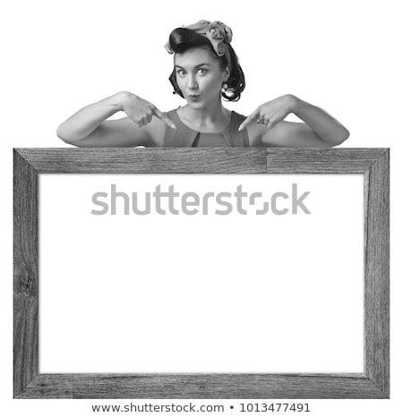 Ujjak mosoly űr szöveg izolált fehér Stock fotó © oly5