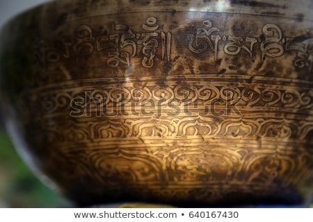 Close up macro of Tibetan singing bowl Stock photo © TheFull360
