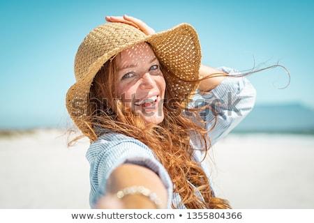 rire · femme · plage · lumineuses · photos · ciel - photo stock © dolgachov