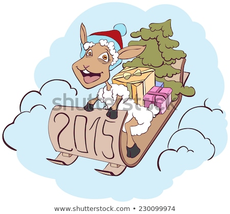 Sheep on a sledge with gifts. Symbol 2015 Stock photo © orensila