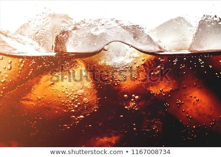 Közelkép jégkockák kóla üveg víz absztrakt Stock fotó © punsayaporn