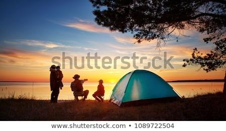 familie · snacks · buiten · tent · camping · boom - stockfoto © adrenalina