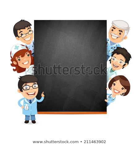 Doctors Presenting Empty Blackboard Stock photo © Voysla