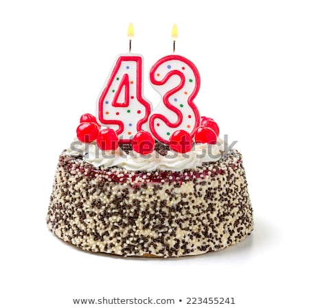 pastel · de · cumpleanos · ardor · vela · número · torta · signo - foto stock © zerbor