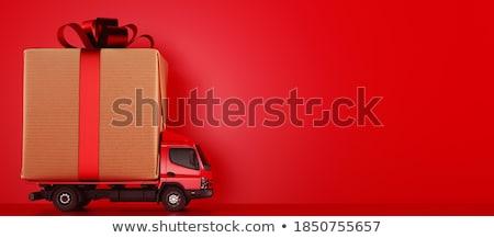 feliz · loiro · menina · abertura · apresentar · caixa · de · presente - foto stock © novic