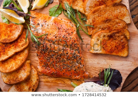 grilled chicken meat french fries and salad in takeout food bo stock photo © elisanth