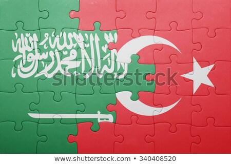 Suudi Arabistan Türkiye bayraklar bilmece yalıtılmış beyaz Stok fotoğraf © Istanbul2009