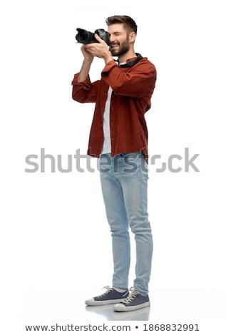 肖像 幸せ 男性 カメラマン 立って 白 ストックフォト © wavebreak_media