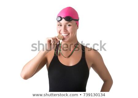 úszó aranyérem gyönyörű visel arany fiatal Stock fotó © ssuaphoto
