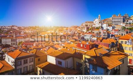 heuvel · oude · binnenstad · Portugal · licht · zonsondergang · huis - stockfoto © neirfy