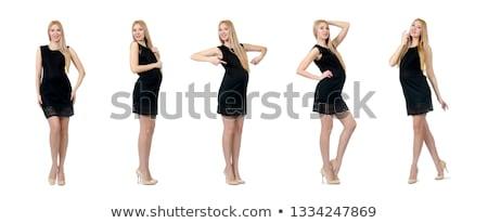Bella donna incinta mini vestito nero isolato bianco Foto d'archivio © Elnur