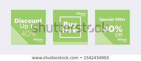 Winkelen teken vierkante vector groene icon Stockfoto © rizwanali3d