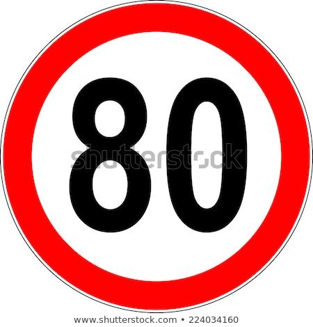 Número oitenta estrada rodas ilustração 3d tráfego Foto stock © drizzd