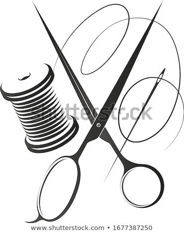 Thread forbici isolato bianco texture moda Foto d'archivio © fuzzbones0