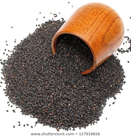 schwarz · Sesam · Heap · weiß · Saatgut · Korn - stock foto © ziprashantzi