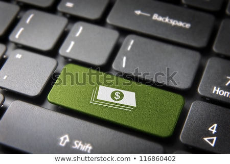 Stockfoto: Toetsenbord · groene · knop · geld · internet