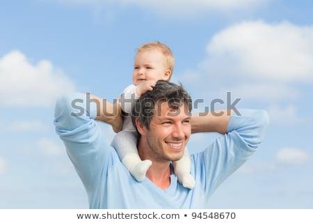 Stok fotoğraf: Bebek · omuzlar · gülümseme · adam · gözler · kızlar