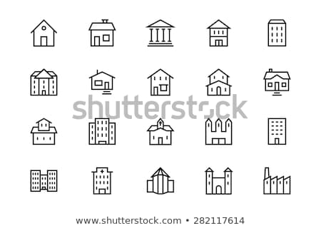 farm buildings line icon stock photo © rastudio