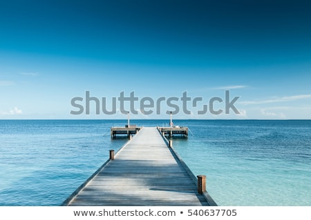 Perspective wood bridge beach sand sea summer Stock photo © cienpies
