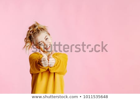 Fashion studio portrait of pretty young hipster blonde woman with bright sexy make up, White urban w Stock photo © traza