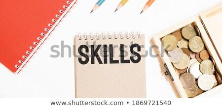 Competenze testo notepad matita rosso lavoro Foto d'archivio © fuzzbones0