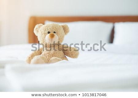 fiatal · lány · alszik · kedvenc · játék · plüssmaci · lány - stock fotó © bluering