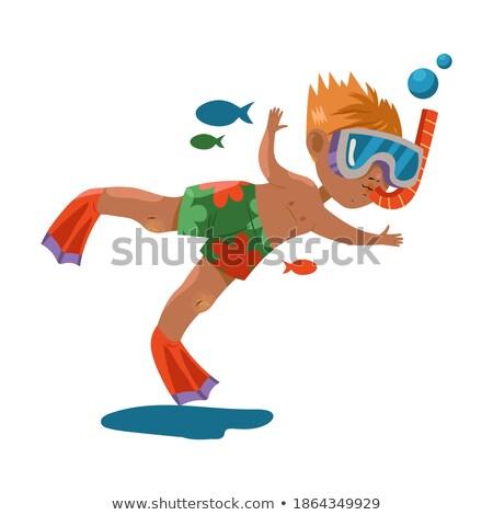 мальчика эскиз воды морем фон Сток-фото © bluering