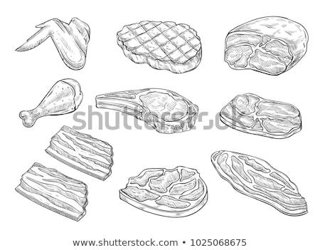 生 · 鶏 · 手描き · スケッチ · アイコン - ストックフォト © rastudio
