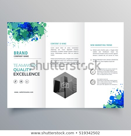 abstract grungy ink business trifold brochure layout template Stock photo © SArts