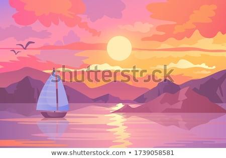 Sailboat against orange sunset. Stock photo © Vertyr