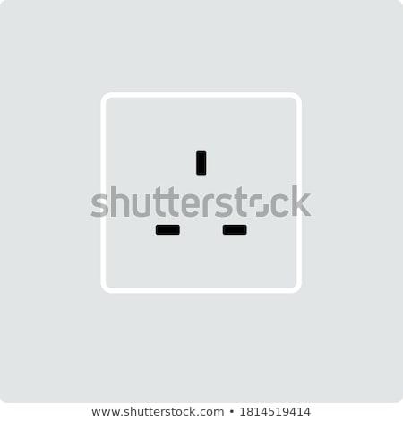 Nagy-Britannia elektomos foglalat ikon szürke zöld Stock fotó © angelp
