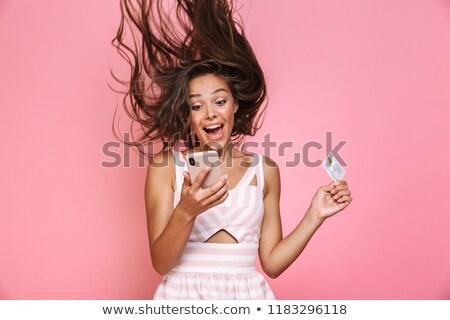 retrato · moda · mulher · longo · rosa - foto stock © Victoria_Andreas