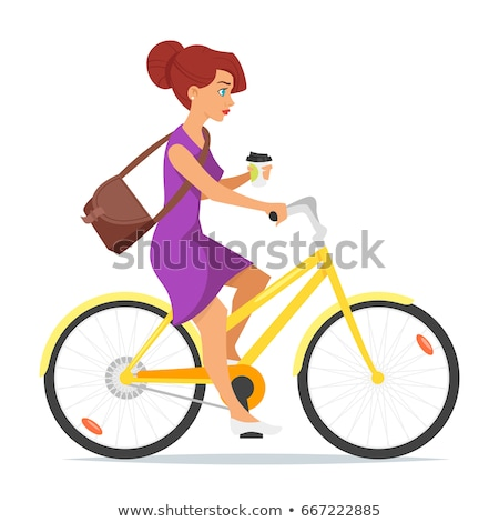 woman riding on the bike with coffee in her hand stock photo © curiosity