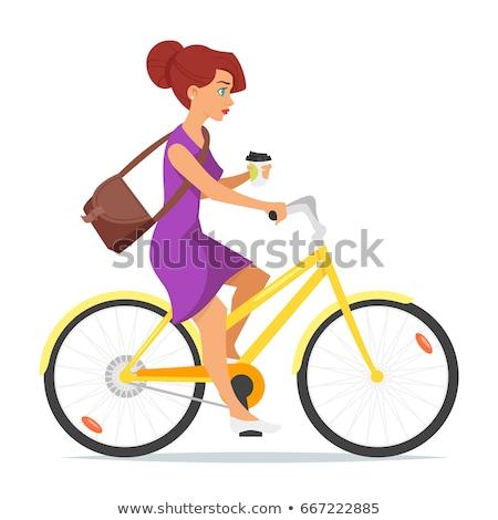 Vrouw paardrijden fiets koffie hand vector Stockfoto © curiosity