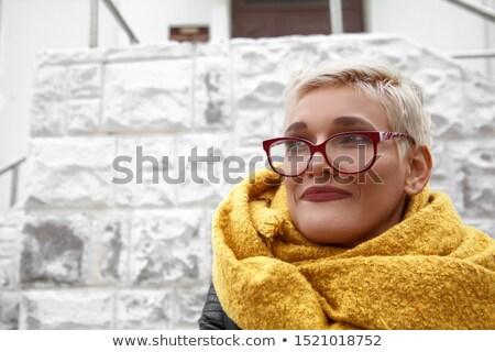 Portret blonde vrouw bril blond Stockfoto © julenochek