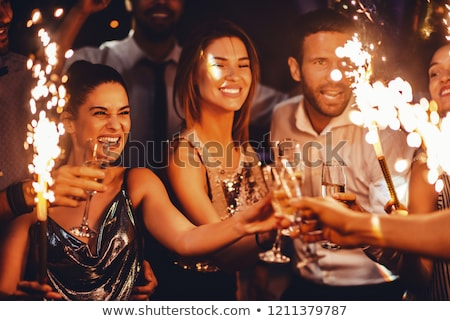 Mujeres gafas champán casa mujer Foto stock © wavebreak_media