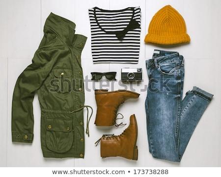 ストックフォト: 女性 · 黄色 · シャツ · 緑 · ジャケット · ポーズ