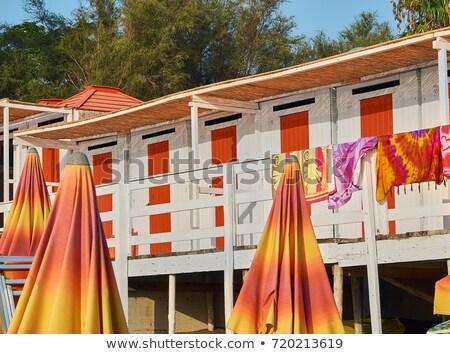 beach huts in a beach of salerno campania italy stock photo © photooiasson