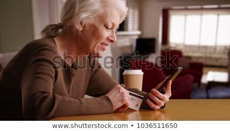 мобильных старость портрет женщины Сток-фото © Saphira