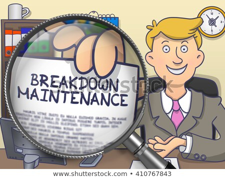 Breakdown Maintenance through Magnifier. Doodle Style. Stock photo © tashatuvango