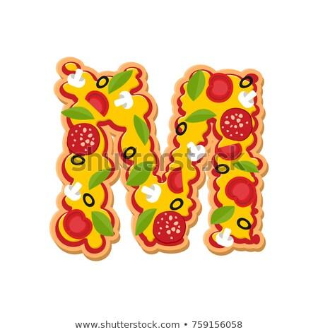 M betű pizza betűtípus olasz étel ábécé Stock fotó © popaukropa