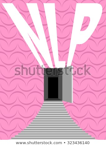 NLP logo. Open door and step onto background texture of human br Stock photo © popaukropa